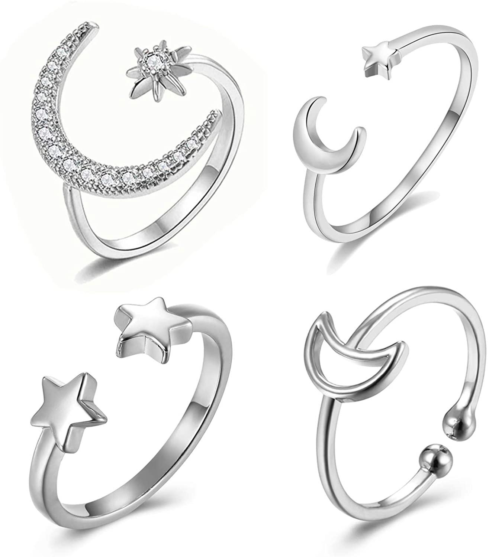 YANCHUN CZ Moon Star Ring for Women Opening Rhinestone Crescent Moon Ring Set for Girls …