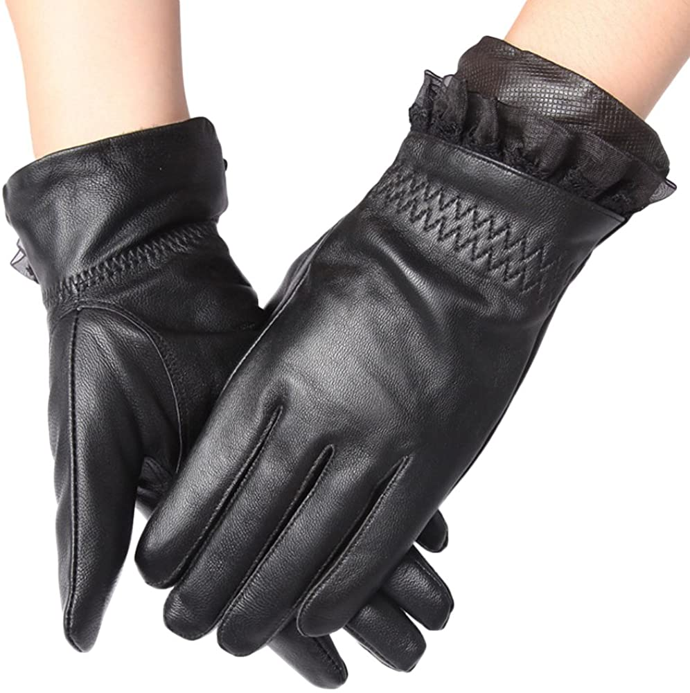 ICRGREY Womens Leather Gloves Faux Thermal Lining Motorcycle Biker Sports Glove
