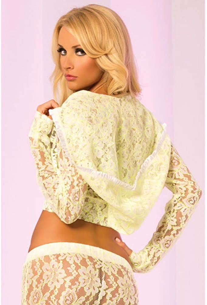 Pink Lipstick Womens Luxurious Lace Crop Hoodie