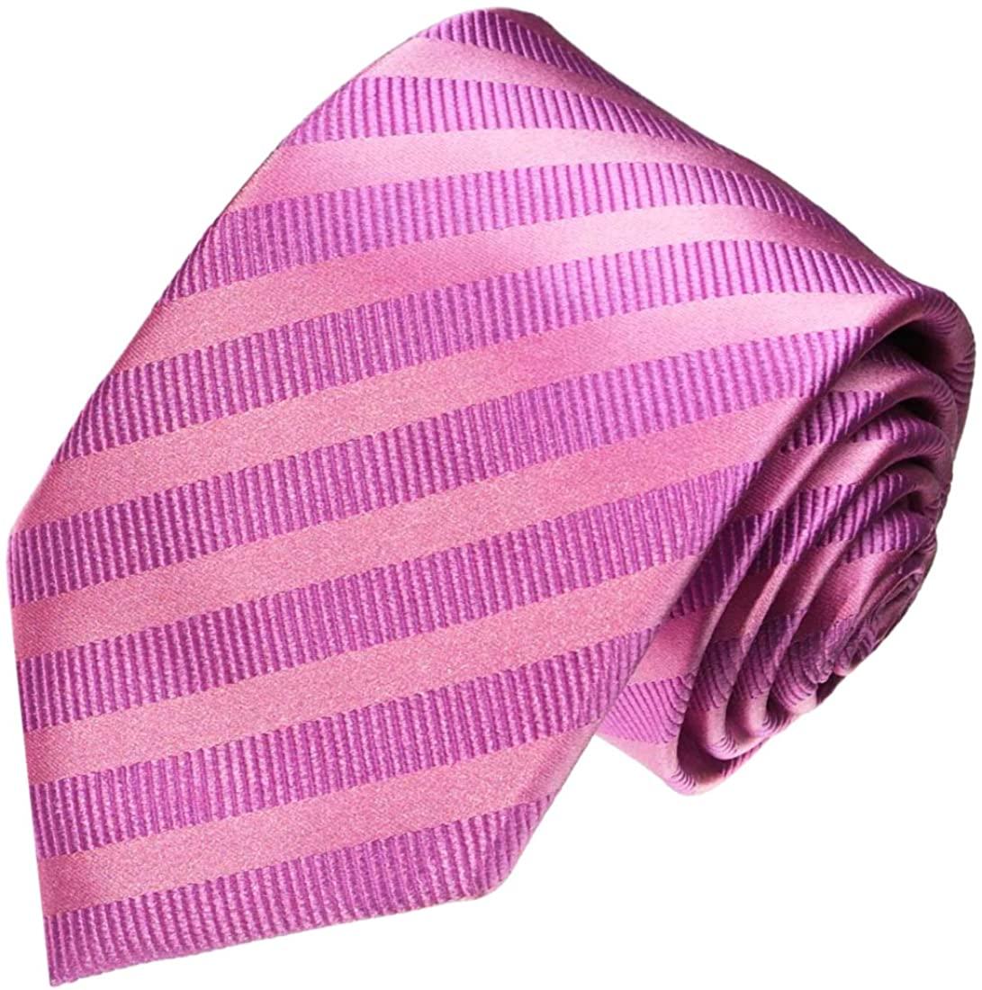 LORENZO CANA - Luxury Italian 100% Silk Tie Jacquard Woven Handmade Necktie Pink Stripes - 84131