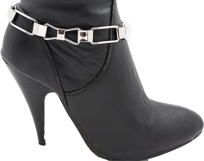 TFJ Women Boot Bracelet Chain Silver Bling Metal Tie Bow Western Fashion Anklet Shoe Charm