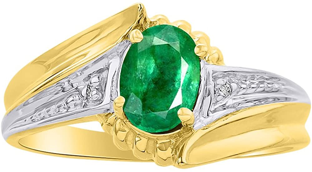 Diamond & Emerald Ring Set In 14K Yellow Gold - Color Stone Birthstone Ring