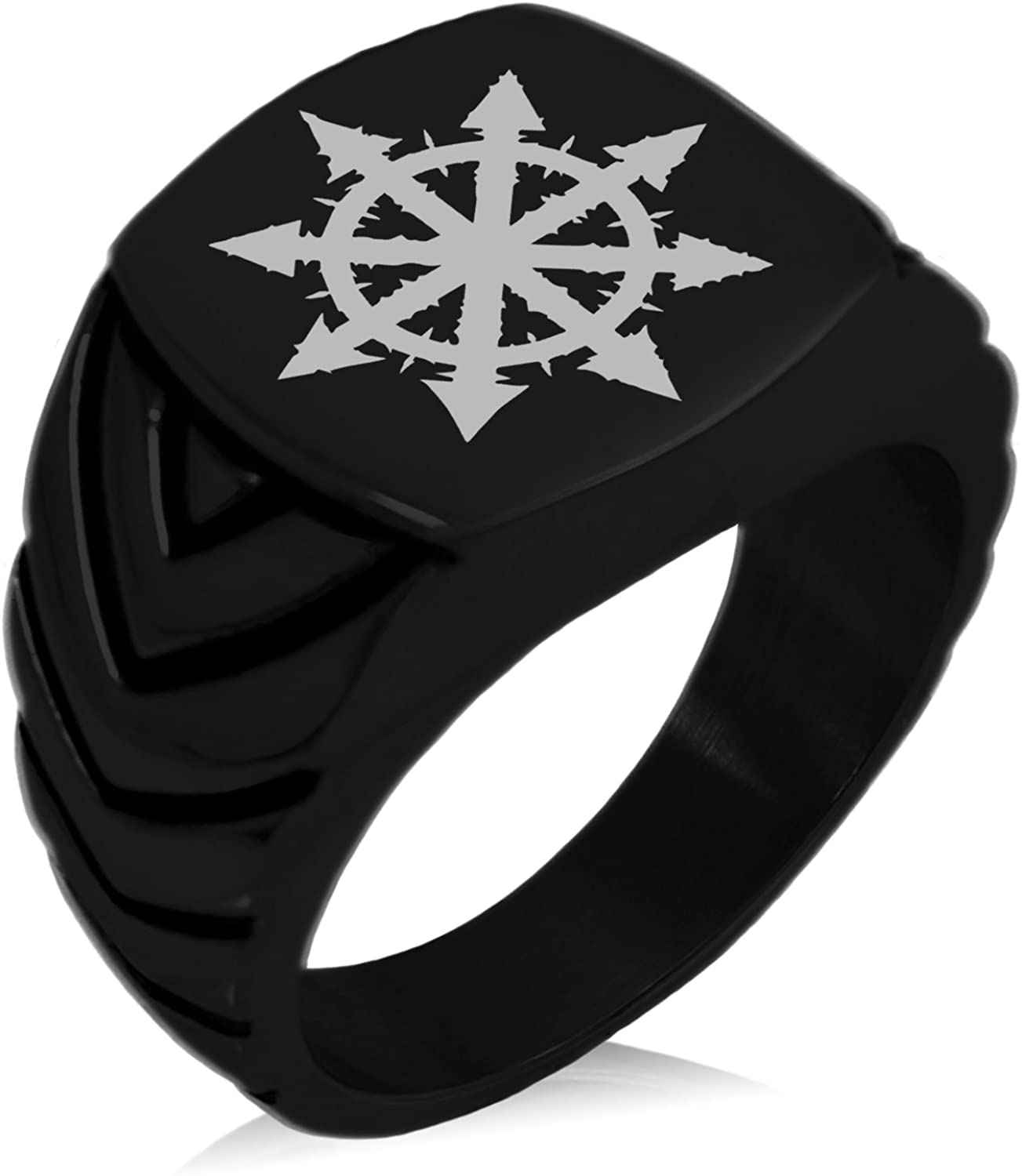 Tioneer Stainless Steel Chaos Symbol Chevron Pattern Biker Style Polished Ring