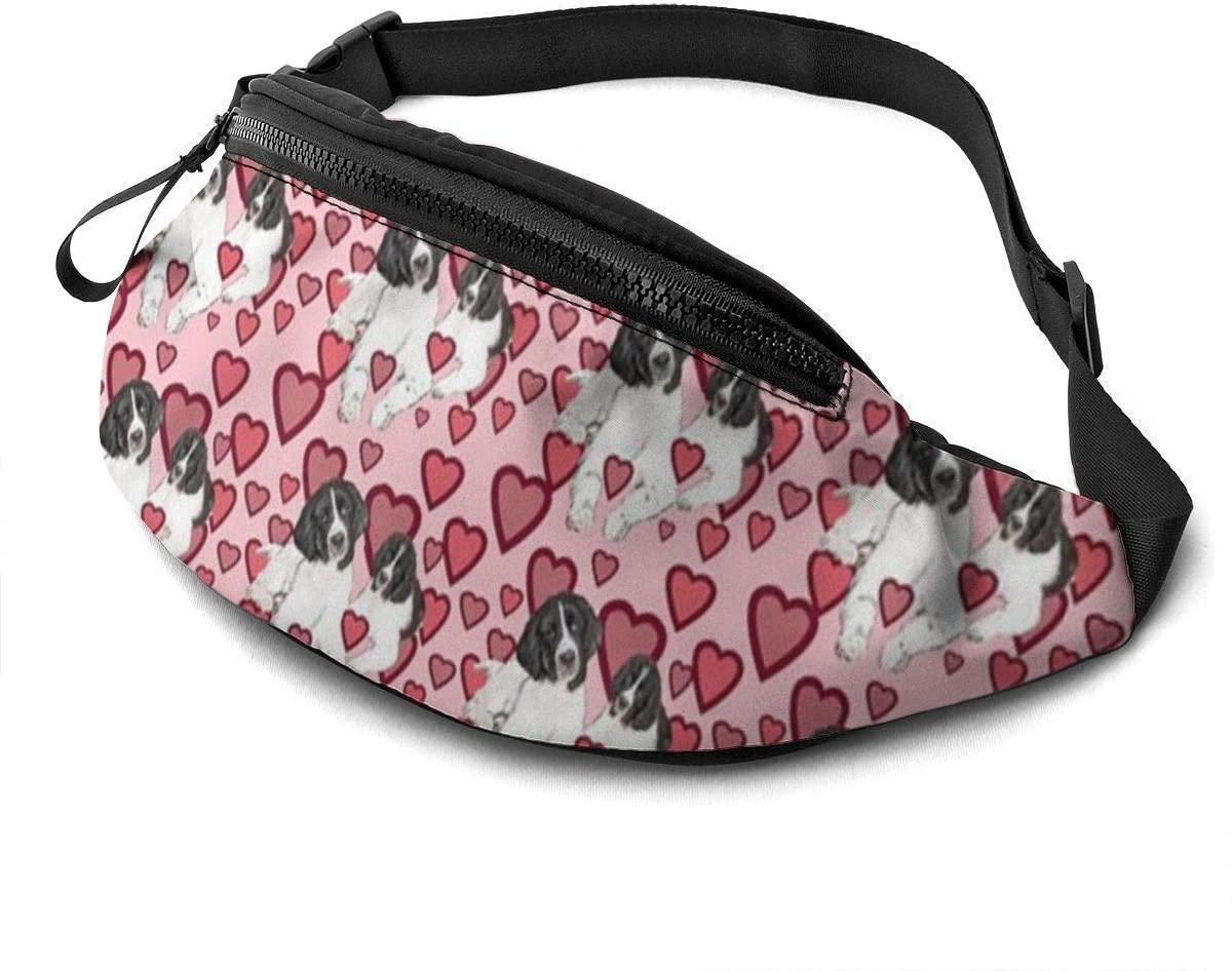 Hearts And Landseer Newfoundland Dogs Fanny Pack For Men Women Waist Pack Bag With Headphone Jack And Zipper Pockets Adjustable Straps