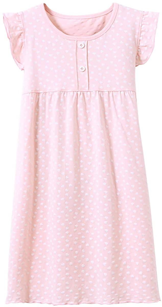 Agoky Girls Princess Nightgown Soft Cotton Pajamas Toddler Heart Shape Sleepwear Nightwear Dress