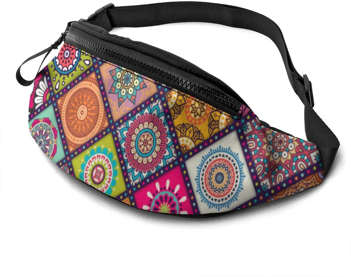 Mandala Fanny Pack for Men Women Waist Pack Bag with Headphone Jack and Zipper Pockets Adjustable Straps