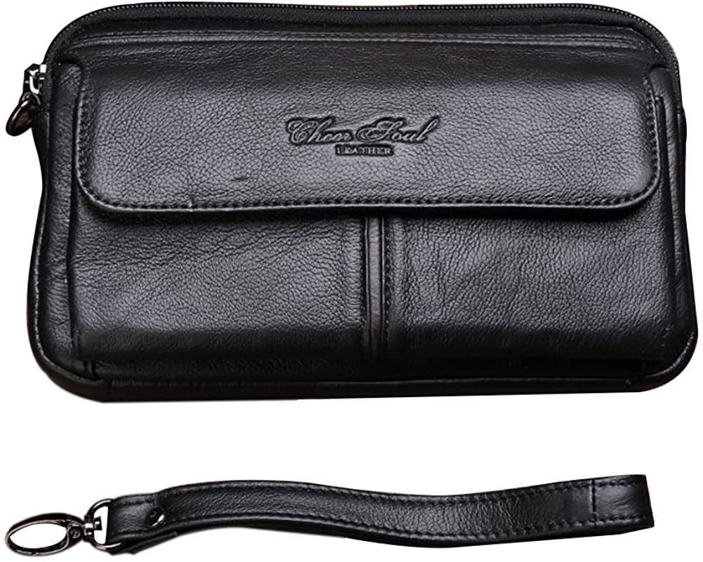 Genda 2Archer Mens Leather Small Clutch Wallet Purse with Wrist Strap
