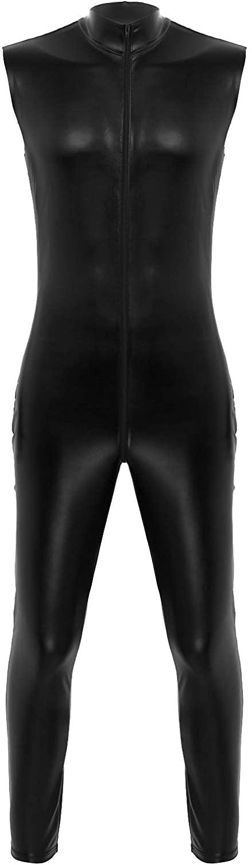 iiniim Sexy Men's Faux Leather Wet Look Sleeveless Bodysuit Jumpsuit Catsuit Clubwear