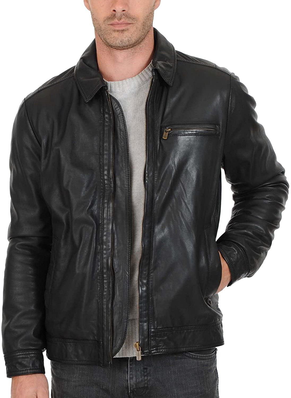 Laverapelle Men's Genuine Lambskin Leather Jacket (Black, Aviator Jacket) - 1501389