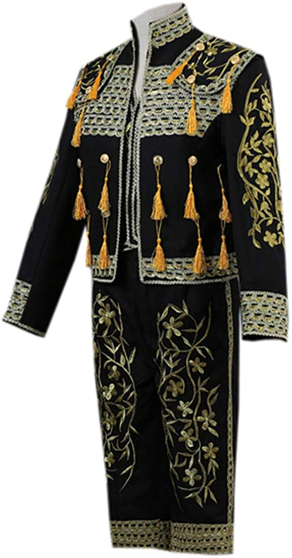 I-Youth Mens Victorian Gothic Vintage Suit Matador Costume Jacket Vest Trousers Set 3-Piece