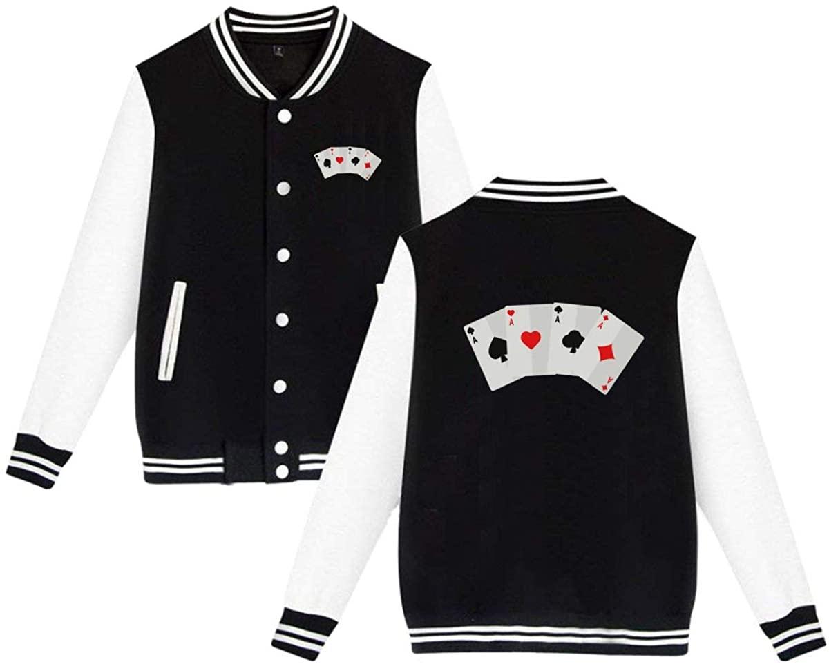 MOCSTONE Unisex Varsity Jacket Poker Baseball Letterman Jackets Sport Coats