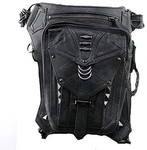 Kissybride Vintage Steampunk Waist Thigh Bag Women Motorcycle Leg Bag PU Leather Shoulder Bag, Black
