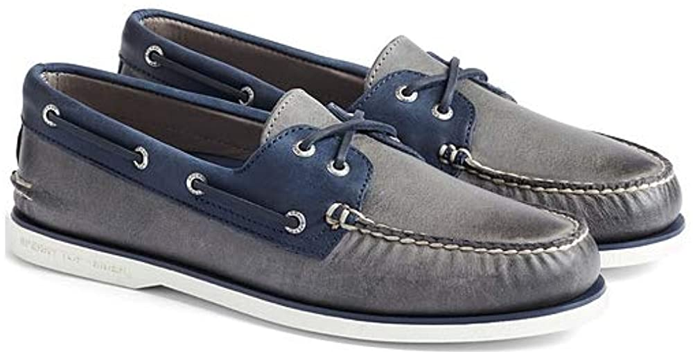 Sperry Men's, Gold Cup Authentic Original Boat Shoe Grey Navy 10 M