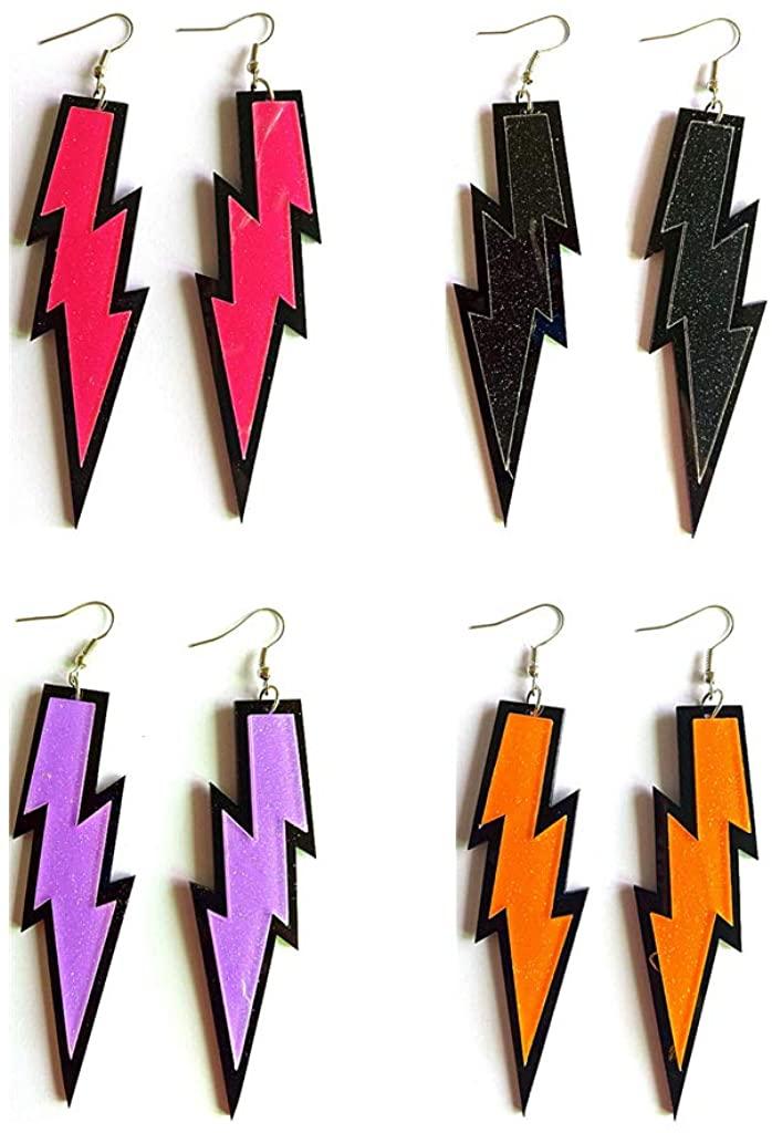 COLORFUL BLING 4 Pairs Women Lightning Earrings Retro 80s Neon Dangle Earrings for Women Girls Party Costume Jewelry