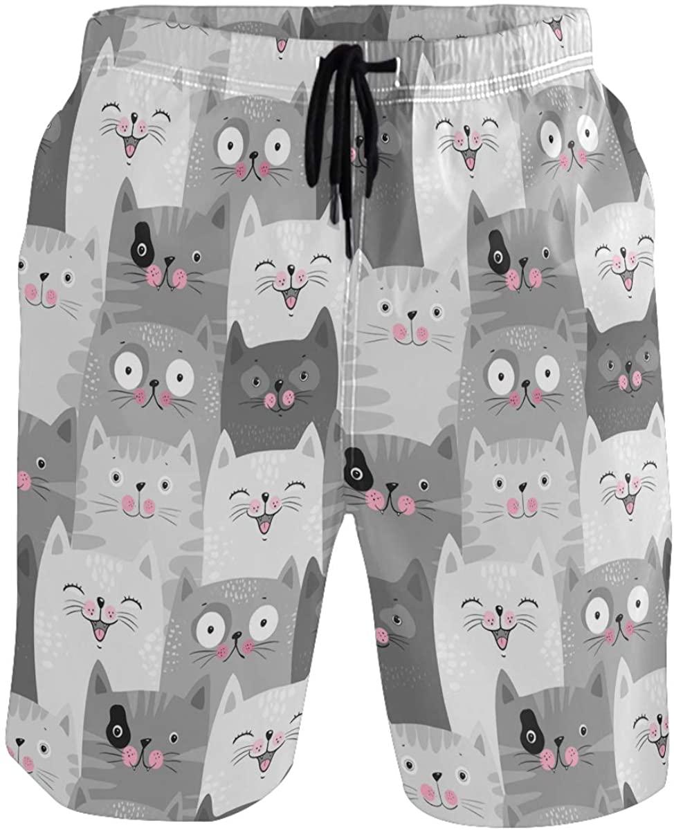 Men's Swim Trunks - Lucky Cat Beach Short Men Quick Dry Bathing Suit Shorts