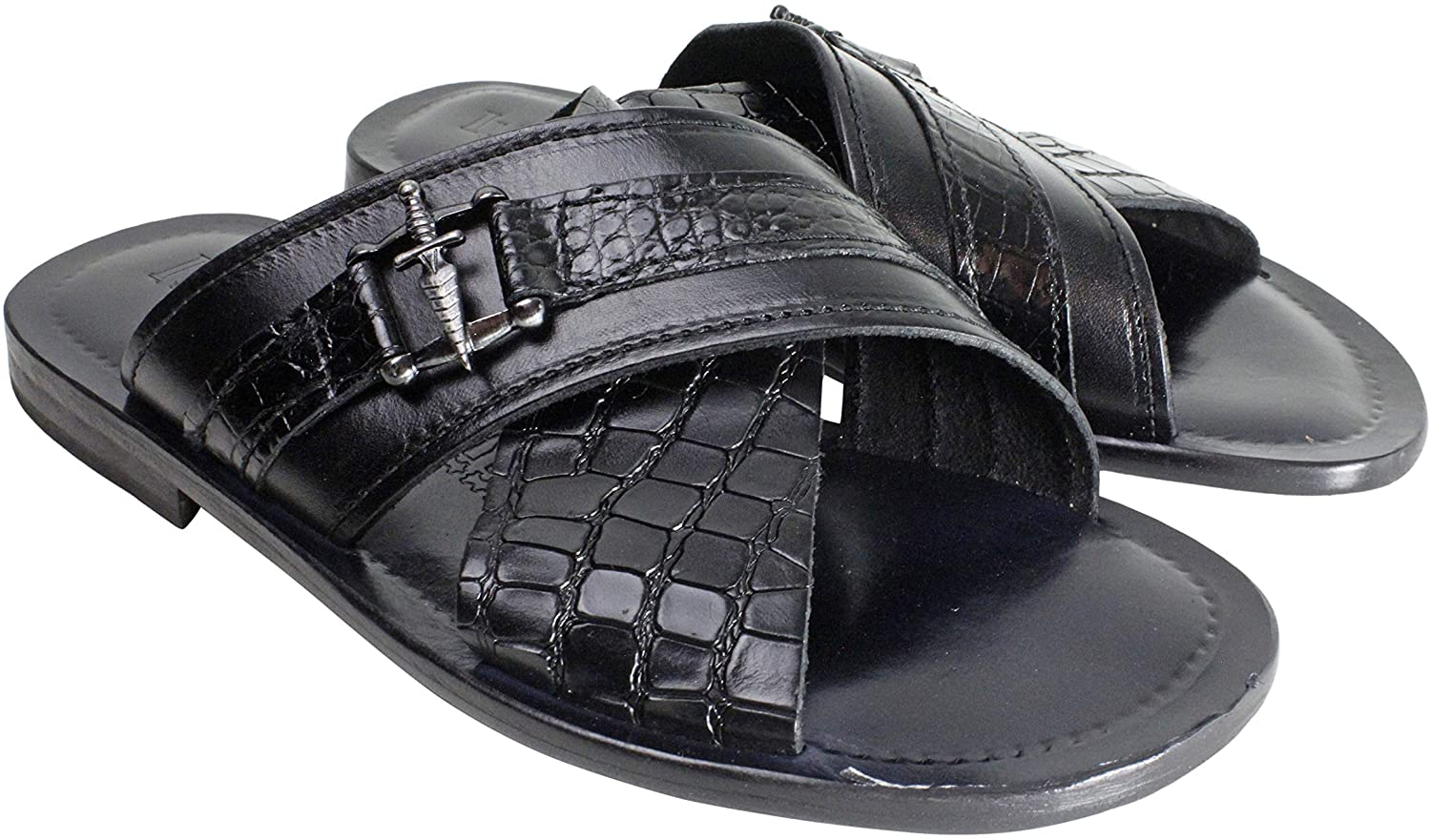 Ivan Troy Elhadji Men's Italian Leather Sandals Shoes/HandmadeMen's Sandals (Black, 8)