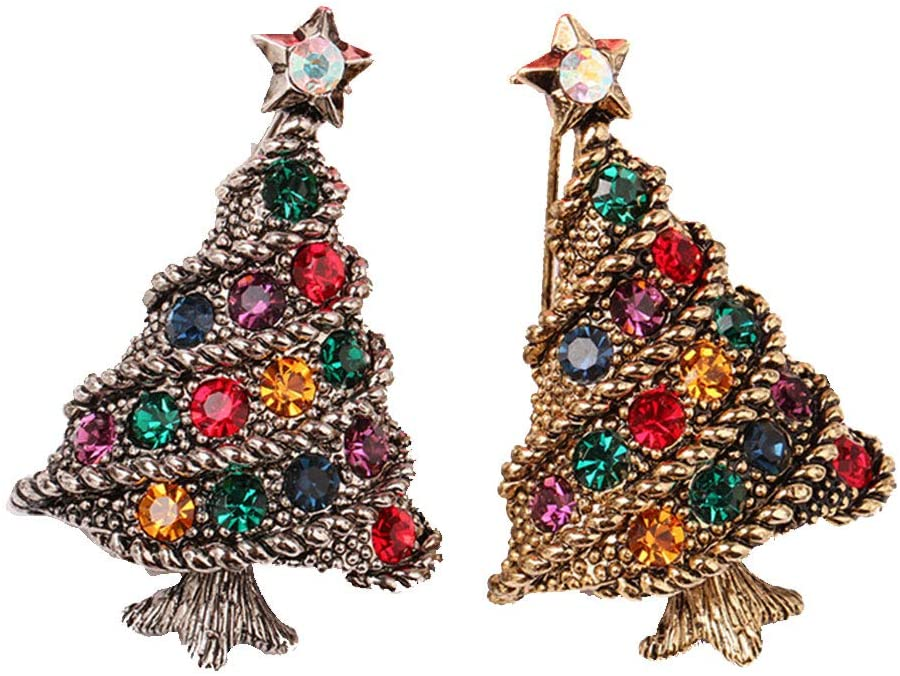Diamond Christmas Brooch Pin Gem Bling Shiny Christmas Tree Brooch Cute Crystal Diamond Christmas Badge Brooches Jewelry Gift Holden And Silver 2Pcs