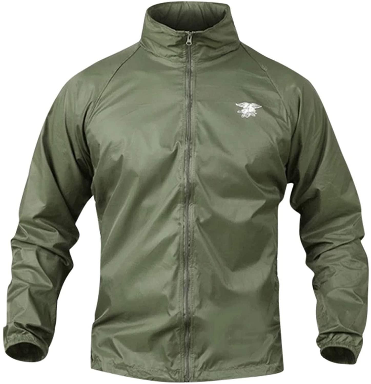 OH WHY Men's Coats Waterproof Windbreaker Jacket Tactical Soft Shell Jackets Military WTurtleneck