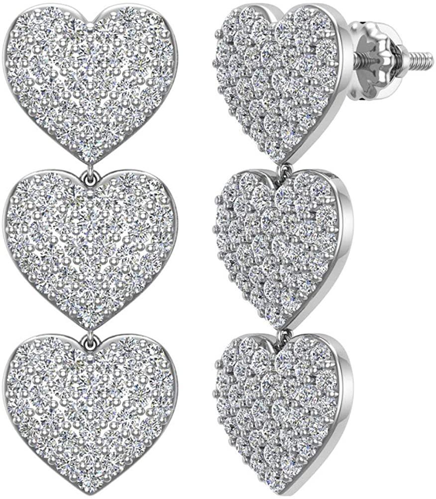 Heart Diamond Chandelier Earrings Waterfall Style 14K Gold