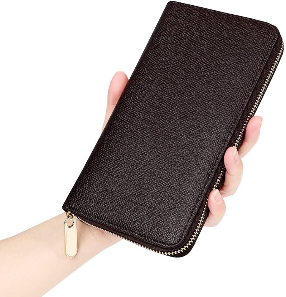 Men's RFID Blocking Leather Card Holder Case Long Large Zipper Organizer Wallet