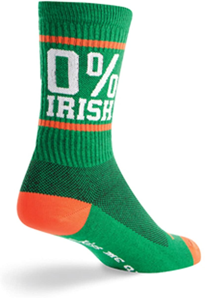 SockGuy, Zero % Irish, Crew Sock, Sporty and Stylish, 6 Inches - Small/Medium