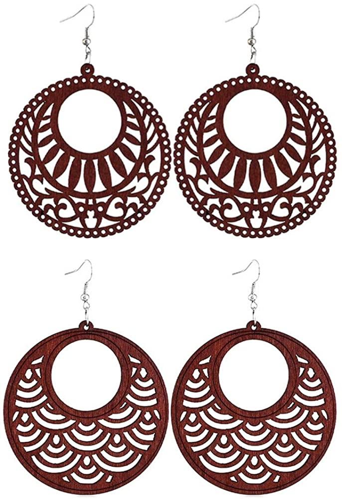 SIVITE Vintage Round Hollowed Pattern Wood Earrings Boho Ethnic Wooden Statement Dangle Drop Earrings