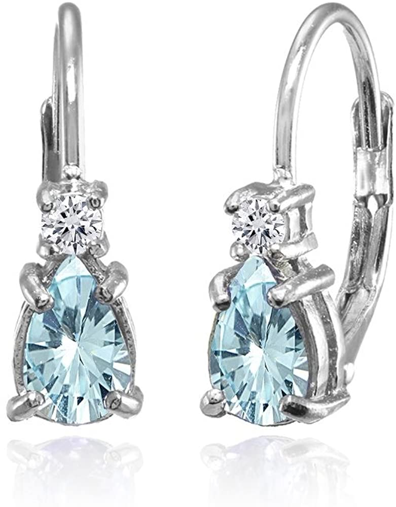 Sterling Silver Genuine, Created and Simulated Gemstone & White Topaz Tiny Teardrop Huggie Leverback Earrings for Girls Kids