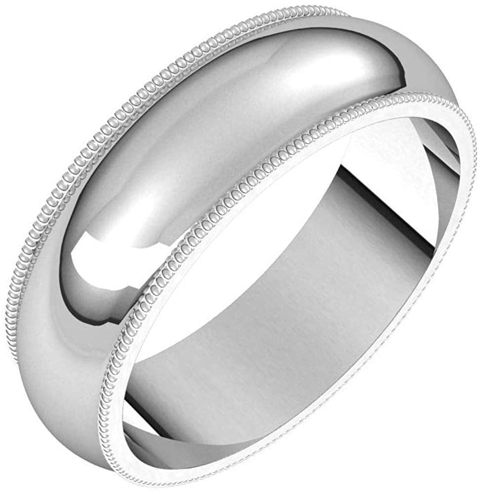 Solid Palladium 6mm Milgrain Half Round Wedding Band Size 12.5