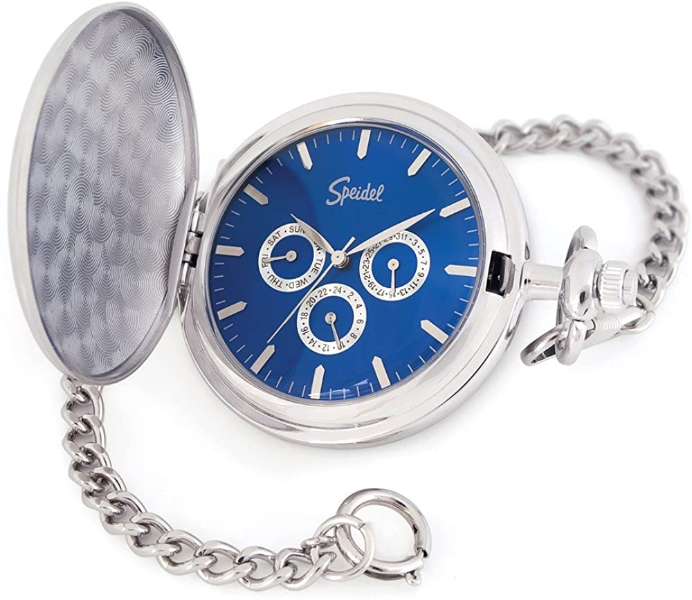 """Speidel Classic Smooth Pocket Watch with 14"""" Chain Silver Tone with Blue Dial in Gift Box – Engravable"""