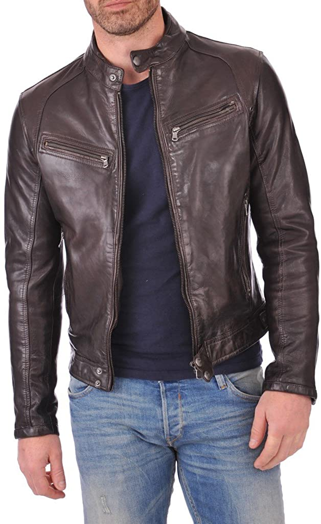 BENJER Men's Leather Jacket Lambskin Bomber Motorcycle Biker