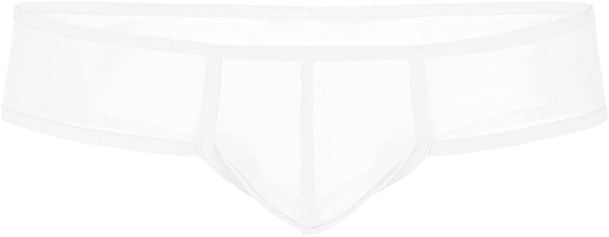 ACSUSS Men's Underwear Mesh Gauze Boxer Briefs See Through Cheeky Sissy Panties