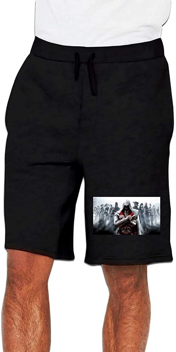 Assassins Creed Mens Casual Shorts Workout Fashion Comfy Shorts Breathable Big and Tall Shorts