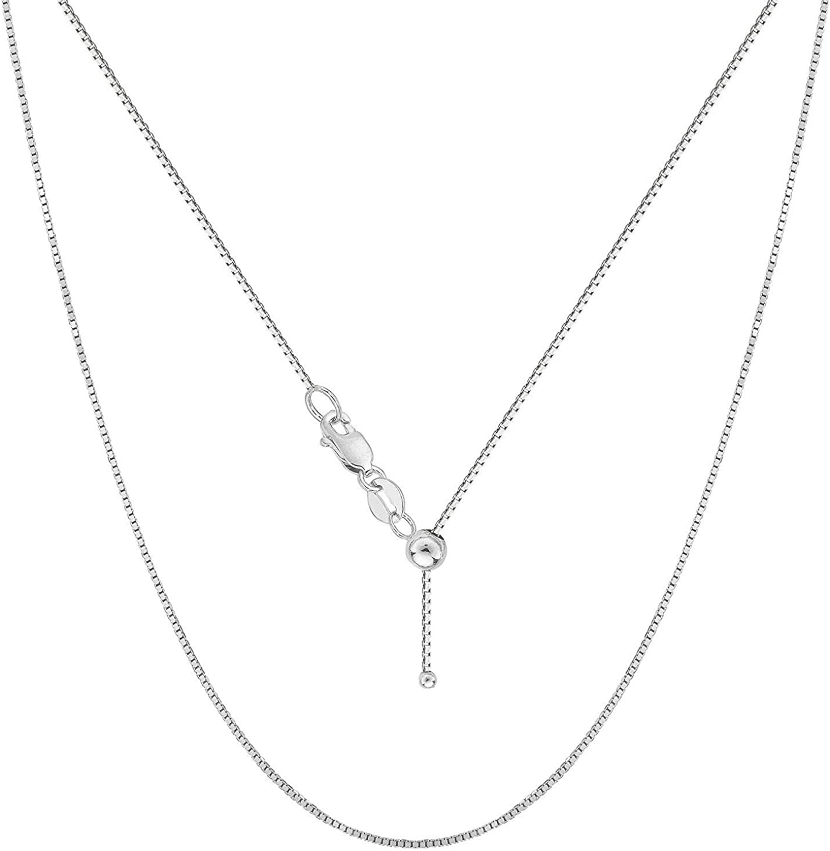 Verona Jewelers Sterling Silver Adjustable Box Chain Bolo Necklace| Sterling Silver Box Chain| 925 Sterling Silver Pendant Necklace | Adjust UP to 24 INCHES