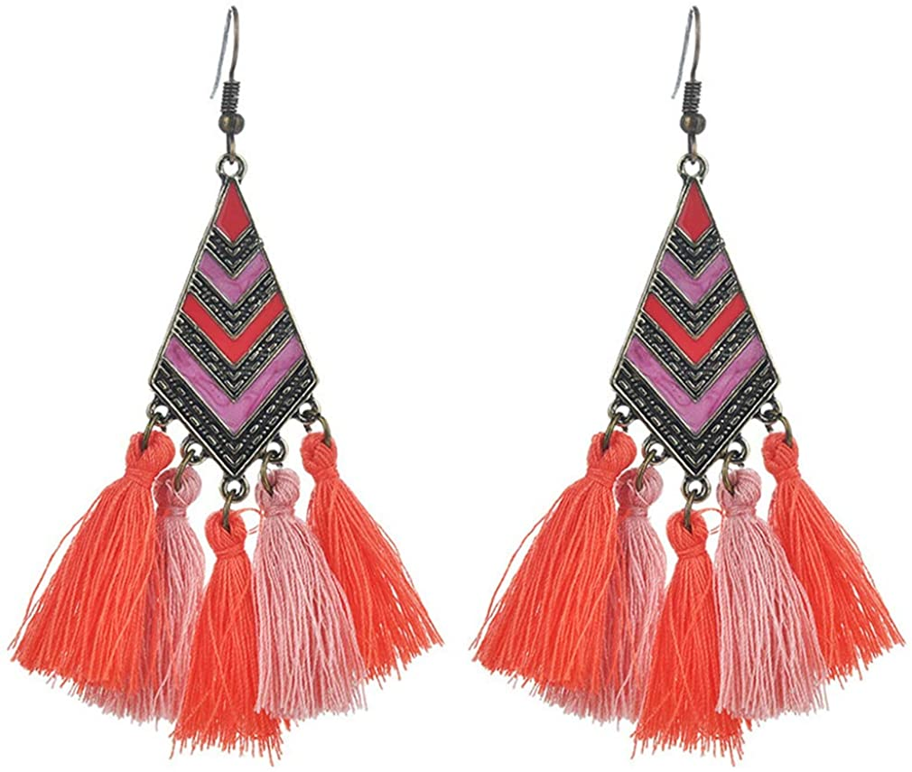 YAZILIND Bohemian Tassel Pendant Drop Earrings Retro Ethnic Style Triangle Shape Dangle Women Girls Fishhook Earring