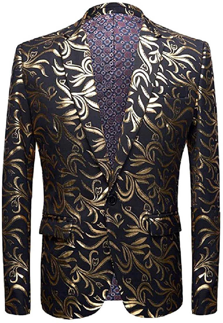Men Simple Plus-Size Deluxe British Button One Style Dinner Jacket,5,US M=China L