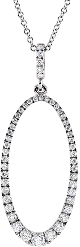 14K White Gold 5/8 Ctw Diamond Oval Silhouette 18 Necklace