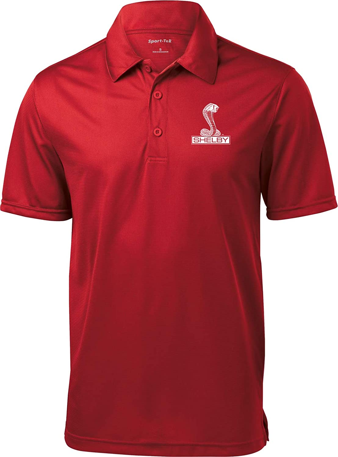 Ford Shelby Cobra Pocket Print Textured Polo, Red 2XL