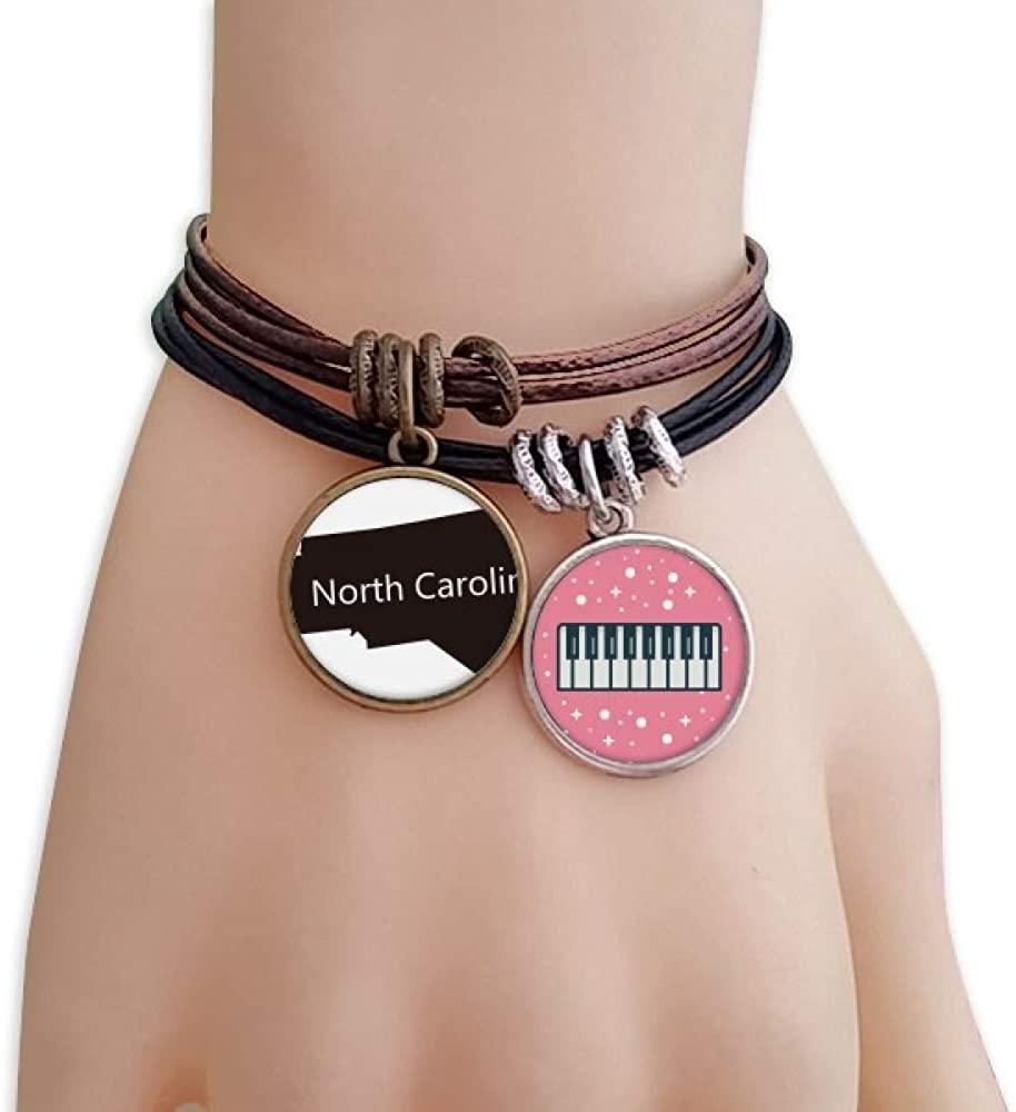 cold master DIY lab Carolina The United States North Map Silhouette Bracelet Rope Wristband Piano Key Music Charm
