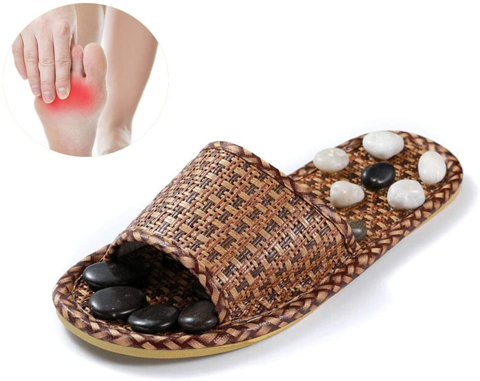 NACHEN Foot Massage Slippers Natural Therapy Improve Metabolism Eflexology Stone Massage Sandals for Men