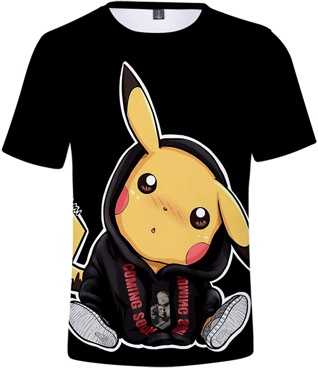 FashionLee Little Kids Pikachu 3D Print Short Sleeve T Shirts-Pocket Monster Round Neck T-Shirts for Boys Girls(2T-12Y)