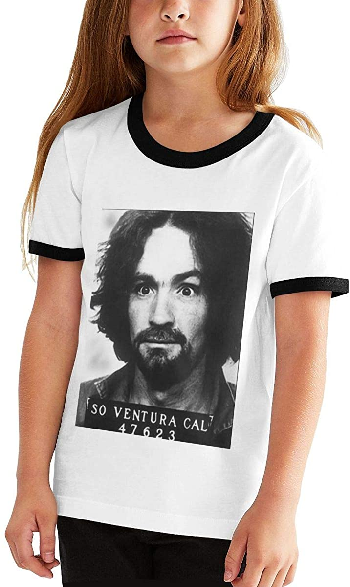 Hangquq Charlie Manson Youth Fashion Short-Sleeved Contrast Color Short-Sleeved T-Shirt.