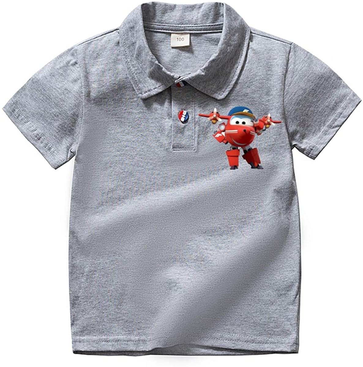 Fashion-zone Super Wings Polo Shirts for Boys and Girls Summer 100% Cotton Tees for Kids