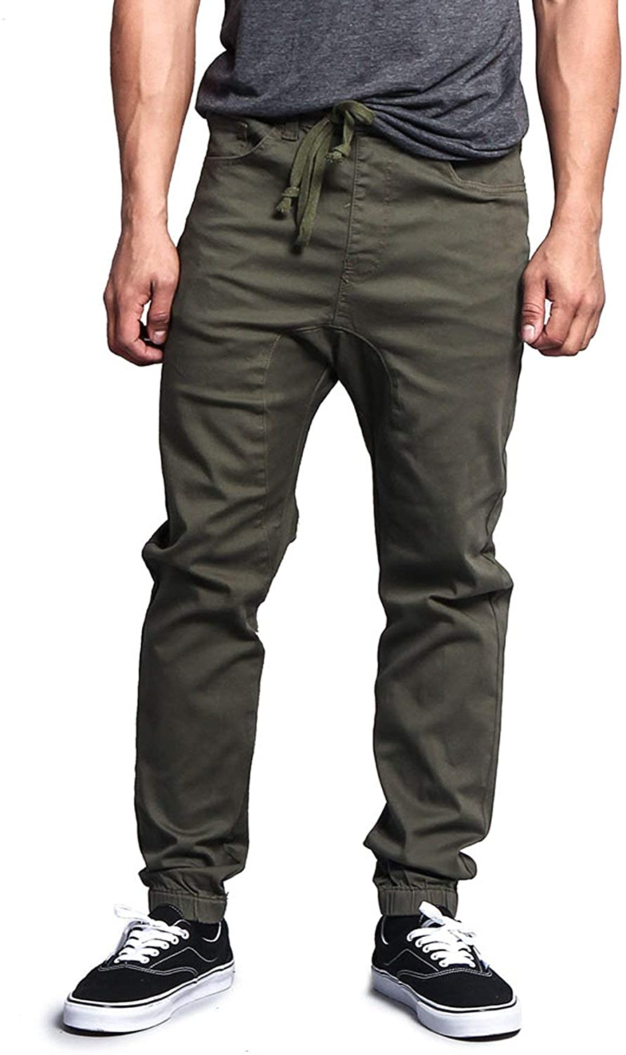 Victorious Mens Twill Jogger Pants, Olive, Large