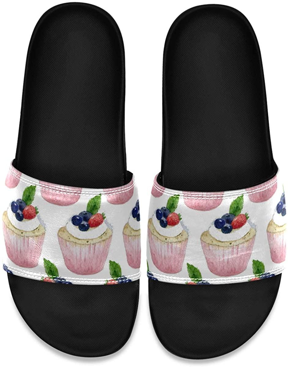 Men's Shower Slides Seamless Watercolor of Cupcake Slide Sandal, Slippers, Sandals for Men
