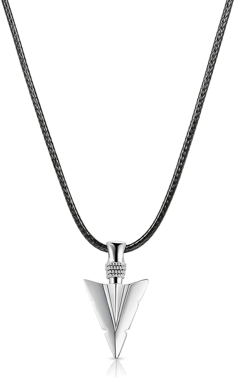 Fathers Day Gifts 925 Sterling Silver Men Jewelry Arrowhead Pendant Necklace for Dad Brother Husband Boyfriend with Woven Wax Rope Chain, 20''