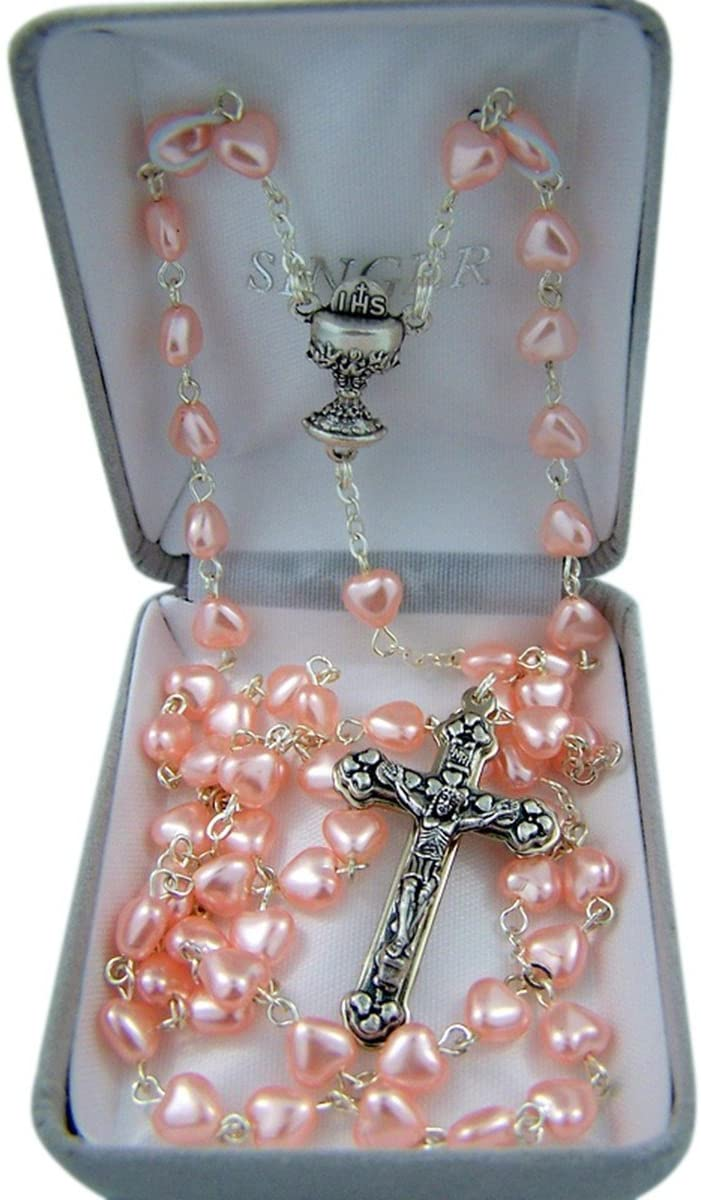 First Communion Pink Heart Prayer Bead Rosary Necklace with Heart Detailed Crucifix, 25 Inch