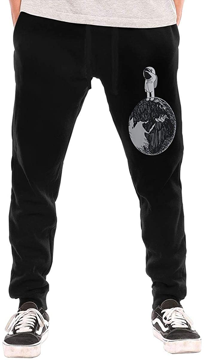 Astronaut Space Planet Men's Casual Jogger Drawstring Waist Long Sweatpants with Pockets