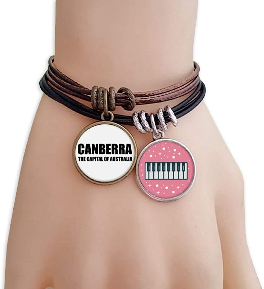 cold master DIY lab Canberra The Capital of Austrialia Bracelet Rope Wristband Piano Key Music Charm