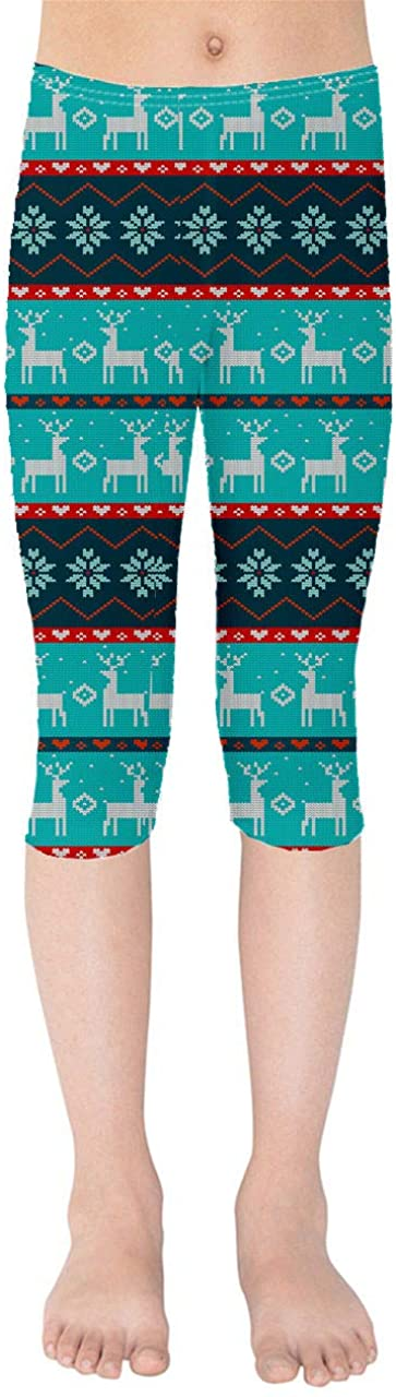 Youth Capri Leggings - Ugly Christmas Reindeers Sweater Pattern Green