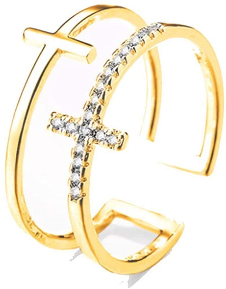 YINLIN Adjsutable Double Cross Open Cuff Finger Ring